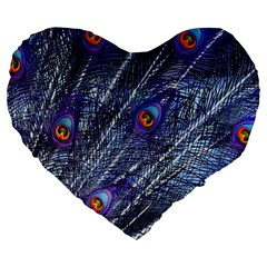 Peacock Feathers Color Plumage Large 19  Premium Heart Shape Cushions