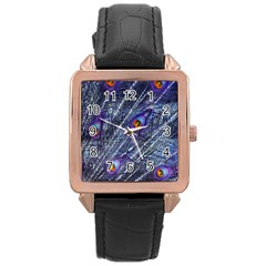 Peacock Feathers Color Plumage Rose Gold Leather Watch