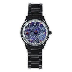 Peacock Feathers Color Plumage Stainless Steel Round Watch
