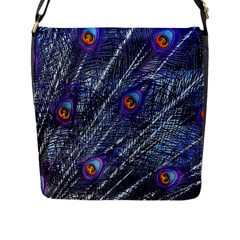 Peacock Feathers Color Plumage Flap Closure Messenger Bag (l)
