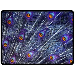 Peacock Feathers Color Plumage Double Sided Fleece Blanket (large)