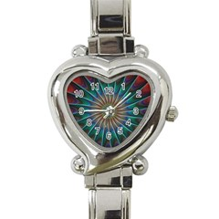 Fractal Peacock Rendering Heart Italian Charm Watch