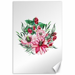 Bloom Christmas Red Flowers Canvas 20  X 30  by Simbadda