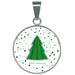 Fir Tree Christmas Christmas Tree 25mm Round Necklace