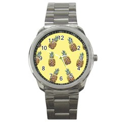 Pineapples Fruit Pattern Texture Sport Metal Watch by Simbadda
