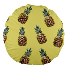 Pineapples Fruit Pattern Texture Large 18  Premium Round Cushions by Simbadda