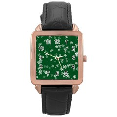 Template Winter Christmas Xmas Rose Gold Leather Watch