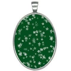 Template Winter Christmas Xmas Oval Necklace