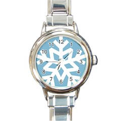 Snowflake Snow Flake White Winter Round Italian Charm Watch