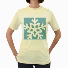 Snowflake Snow Flake White Winter Women s Yellow T Shirt