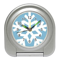 Snowflake Snow Flake White Winter Travel Alarm Clock