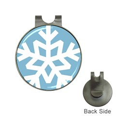 Snowflake Snow Flake White Winter Hat Clips With Golf Markers