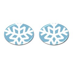 Snowflake Snow Flake White Winter Cufflinks (oval)
