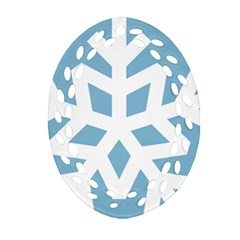 Snowflake Snow Flake White Winter Oval Filigree Ornament (two Sides)