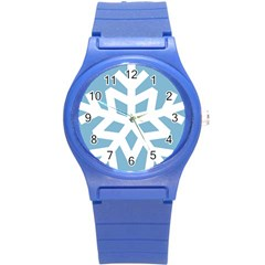 Snowflake Snow Flake White Winter Round Plastic Sport Watch (s)