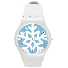 Snowflake Snow Flake White Winter Round Plastic Sport Watch (m)