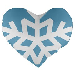 Snowflake Snow Flake White Winter Large 19  Premium Heart Shape Cushions