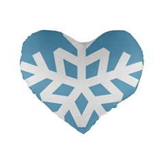 Snowflake Snow Flake White Winter Standard 16  Premium Flano Heart Shape Cushions