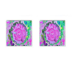 Groovy Pink, Blue And Green Abstract Liquid Art Cufflinks (square) by myrubiogarden