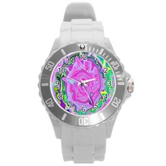 Groovy Pink, Blue And Green Abstract Liquid Art Round Plastic Sport Watch (l) by myrubiogarden