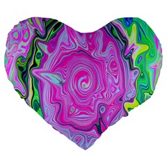 Groovy Pink, Blue And Green Abstract Liquid Art Large 19  Premium Heart Shape Cushions