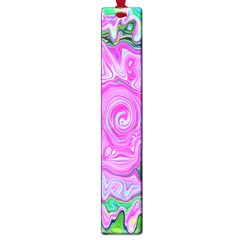 Groovy Pink, Blue And Green Abstract Liquid Art Large Book Marks