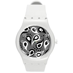 Paisley White And Black Round Plastic Sport Watch (m)