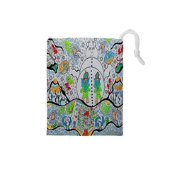Supersonic Volcano Snowman Drawstring Pouch (small) by chellerayartisans