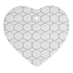 Honeycomb Pattern Black And White Ornament (heart)