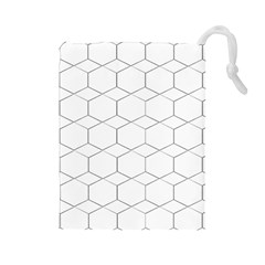 Honeycomb Pattern Black And White Drawstring Pouch (large)