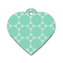 Mint Star Pattern Dog Tag Heart (two Sides)