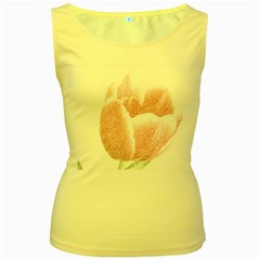 Tulip Red And White Pen Drawing Women s Yellow Tank Top
