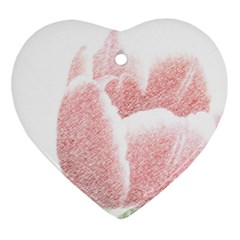 Tulip Red And White Pen Drawing Heart Ornament (two Sides) by picsaspassion