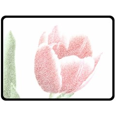 Tulip Red And White Pen Drawing Double Sided Fleece Blanket (large)