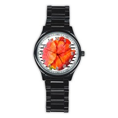 Red Tulip And Black Stripes Stainless Steel Round Watch