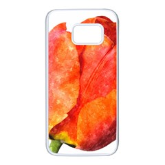 Red Tulip And Black Stripes Samsung Galaxy S7 White Seamless Case