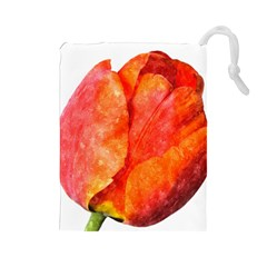 Red Tulip, Watercolor Art Drawstring Pouch (large)