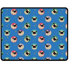 Pugs In Circles With Stars Double Sided Fleece Blanket (medium)