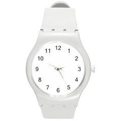 Abstract Flower Round Plastic Sport Watch (m)