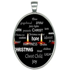 Candles Christmas Advent Light Oval Necklace