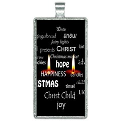Candles Christmas Advent Light Rectangle Necklace
