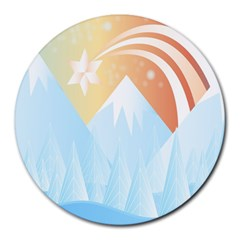 Winter Landscape Star Mountains Round Mousepads by Wegoenart