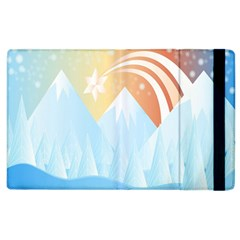 Winter Landscape Star Mountains Apple Ipad 2 Flip Case by Wegoenart