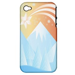 Winter Landscape Star Mountains Apple Iphone 4/4s Hardshell Case (pc+silicone)
