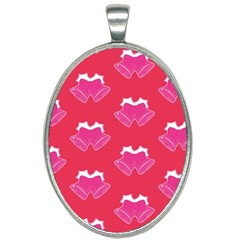 Christmas Red Pattern Reasons Oval Necklace