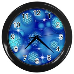 Blue Background Christmas Wall Clock (black)