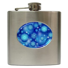 Blue Background Christmas Hip Flask (6 Oz) by Wegoenart