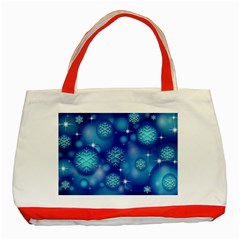 Blue Background Christmas Classic Tote Bag (red)
