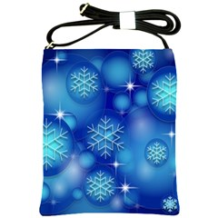 Blue Background Christmas Shoulder Sling Bag