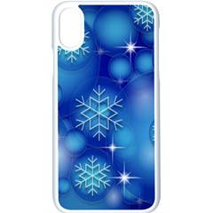 Blue Background Christmas Apple Iphone Xs Seamless Case (white)